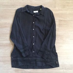 Lord & Taylor 100% Linen Black Button Blouse Sz L